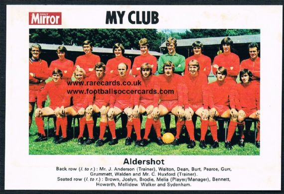 1970 My Club Daily Mirror postcard-size card Aldershot